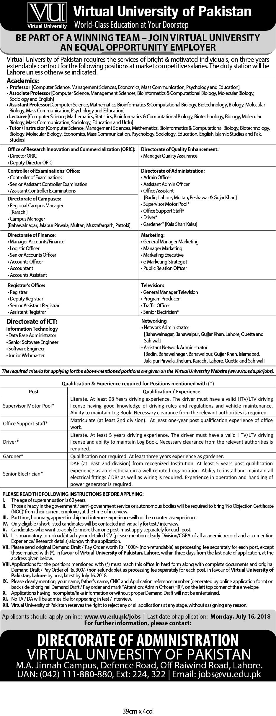 Virtual University Of Pakistan Jobs